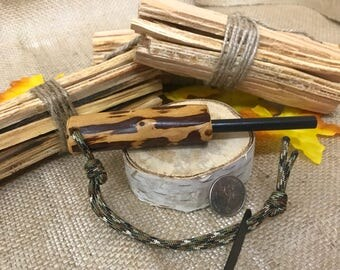 Handcrafted Juniper Handle Ferrocerium Fire Starter w/ Paracord Attachment Loop