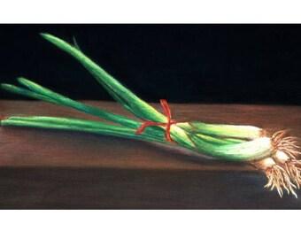 Shallot and Green Onion Pastel Drawing Print