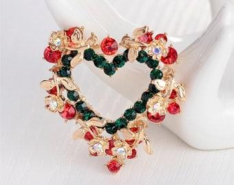 FREE SHIPPING-Domestic-InspireMeByAudrey Elegant Love Heart Garland Brooch Pin