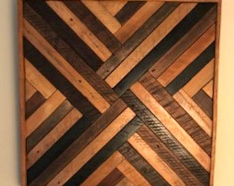 Reclaimed lath wood criss cross wall art