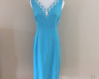 Early 1960s Turquoise Sheath/Beaded (matching coat sold separately)