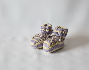 Lovingly hand-knitted baby shoes