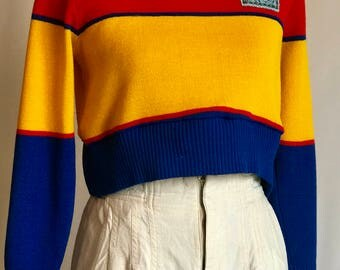 ReWorked Vintage Rainbow Sweater/ Cropped/ Chic Patch/ Colorblocked