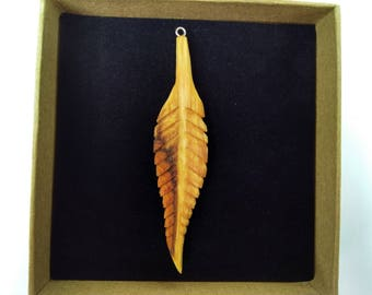Hand Carved Leaf Pendant, Wooden pendant, Yew