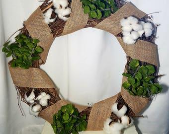 Cotton, Burlap, and Greenery Grapevine Wreath for Front Door or Home Decor, Door Hanger