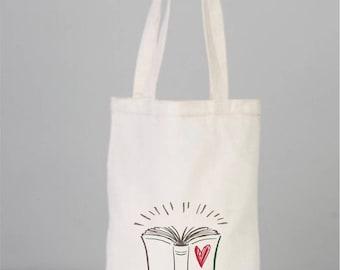 Book Bag, Cotton Book Bag, Book Tote, Love Books,  Canvas Book Bag, Cotton,  Tote Bag, Children Tote Bag, Daily Bag, Cotton Bags Logo