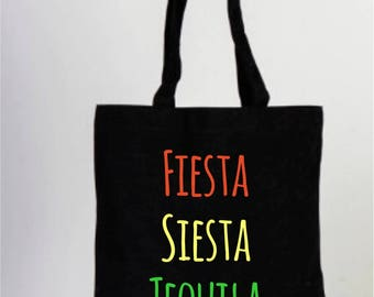 Black Bachelorette Tote Bag, Fiesta, Siesta, Tequila, Repeat, Wedding Bag, Personalized Party Favors, Wedding Welcome Tote Bags, Fancy Totes
