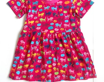 Girls  Red Cat Dress Age 2-3 Years