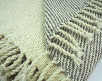 STRIPES Blanket or Plaid, throw, different sizes, handwoven, warm, new wool, hygge