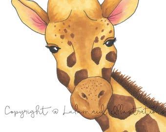Peeking Giraffe Illustration Print