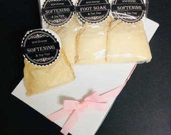Spa Gift Set: Softening Foot Soak Tub Tea - Exfoliating & Rejuvenating with Wild Orange, Melaleuca, Peppermint Essential Oils, Epsom Salts