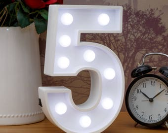 "Light Up Number 5 (Five) - 23cm (9"") high sign, Illuminated White Wooden Marquee Letters with LED Lights Wall Hanging or Freestanding"