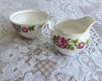 "Vintage Royal Vale Bone China Milk Jug and Sugar Bowl in ""Ring a Ring of Roses"" Design"