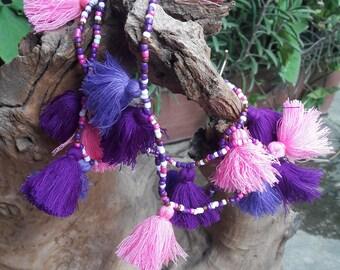 Purple three-tone tassel necklaces,Hand made necklaces,Beads necklaces,Bohemian necklaces.