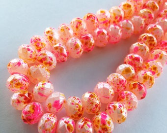 8mm Rondelle Faceted Painted Crystal Glass Beads (Pink & Gold Splash) - 40 pieces