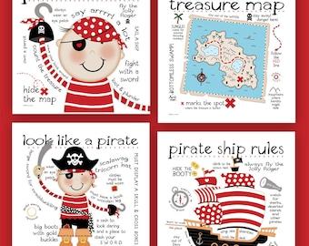 It's A Pirates Life  12x12  4 Set PRINTS