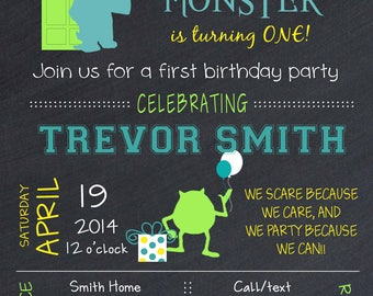Monster's Inc birthday party invitation with balloons, monster's inc birthday invitation, mike and sully party invitation, monster's inc
