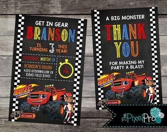 Blaze birthday party  invitation, Blaze monster truck birthday party, truck birthday invite, boy birthday party with Blaze monster trucks