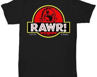 "Black Jurassic-Style Dinosaur T-Shirt. ""Rawr: I Love You in Dinosaur"""