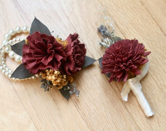 Prom Flowers, Sola Flower Corsage, Sola Boutonniere, Corsage and Boutonniere, boutonniere and corsage, Red Corsage, Sola Corsage, Eucalyptus