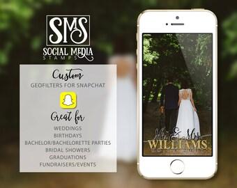 Snapchat Geofilter Wedding, Wedding Geofilter, Custom Snapchat, Stamp, Watermark, Social Media, Wedding Decor, Snapchat Filter
