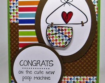 Handmade Card - Baby Card - Diaper Card - Baby Shower Card - Cloth Diaper Card - Welcome Baby - Gender Neutral Card - LGBTQ Friendly Card