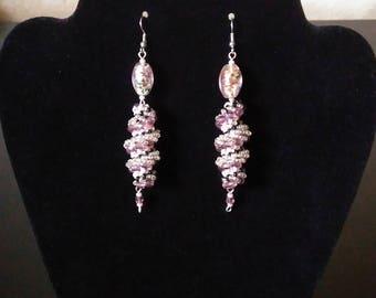 Spiral beaded earrings