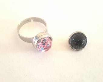Ring snap adjustable snap 12mm and 2 buttons pressure multicolored glitter and black Crackle
