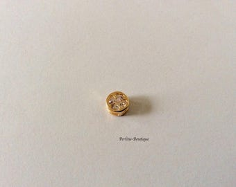Pearl 8mm gold plated & cubic zirconia