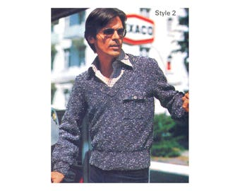 Mens Pullover & Vest Knitting Pattern - Sport sweater, long sleeves, v neck
