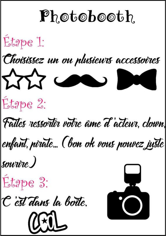 affiche photobooth mode d 39 emploi a4. Black Bedroom Furniture Sets. Home Design Ideas
