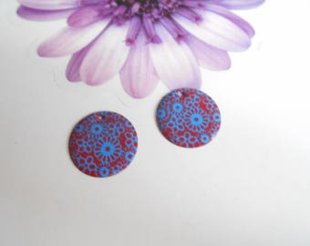 x 4 sequin enamelled blue and Red