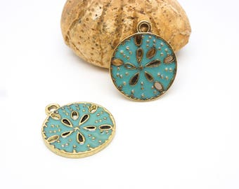 2 charms Urchin sands 23 * 20mm enameled blue-green (8SBD65)