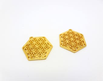 2 pendants in geometric hexagonal shape openwork flowers 25 * 29 mm gold tone (8SBD28)