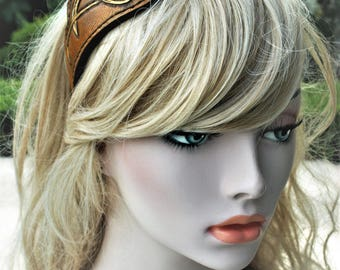 Headdress headband headband leather Repousse Fantasy dragons intertwined patterns