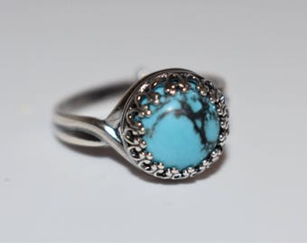 Silver Plated Round Turquoise Blue Ring