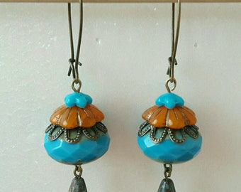 Earrings Bohemian blue and orange floral