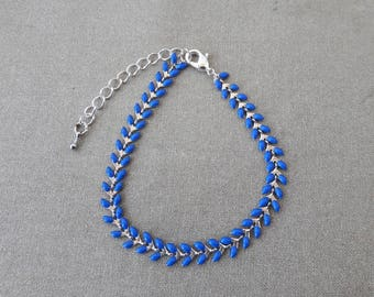 Royal blue enamel spike chain bracelet