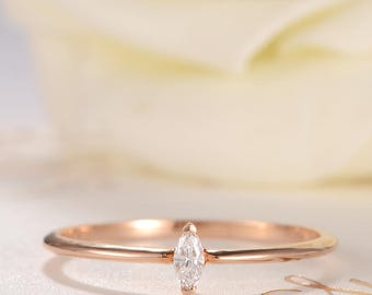 Diamond Ring Rose Gold Engagement Ring Pear Shaped Stacking Mini Thin Eternity Solitaire Bridal Wedding Anniversary Gift Promise Women Ring