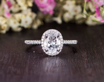 Engagement Ring White Gold Oval Cut White Topaz Birthstone Ring Bridal Half Eternity Diamond Antique Anniversary Women Claw Prongs Engraving