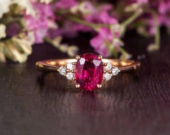 Rose Gold Engagement Ring Oval Cut Tourmaline Birthstone Cluster Diamond Retro Antique Anniversary Promise Bridal Women Personalized Custom