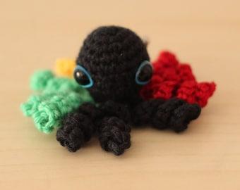 rasta crochet Octopus brooch handmade