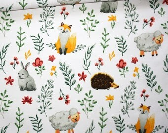 Fabric Fox, sheep, rabbit, hedgehog, 100% cotton printed 50 x 160 cm, forest, fall, a white background