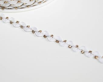 White and gold rickrack trim, 6 mm, serpentine, white and gold, 1 m