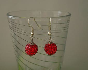 Earrings red rhinestone, available in Pink for women