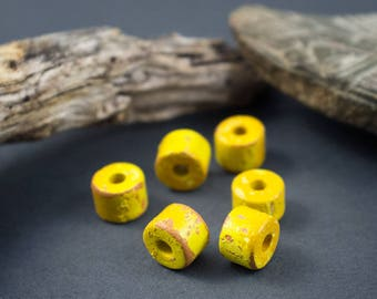6 pcs - bead rustic rondelle tube - yellow brick ceramic - 6-7mm x 8mm