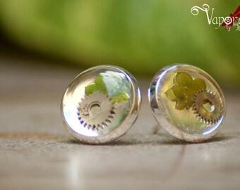 Pair of earplugs Steampunk vegetal silver gears and leaves