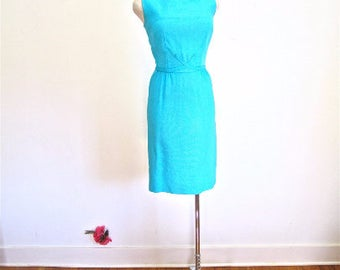 S 60s Linen Turquoise Blue Dress Day Mid Century Mad Men Mod Wiggle Sheath Small