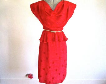 S 70s 80s Red Hot Dress Peplum Cowl Neck Silky Disco Poly Polka Dot 40s Styling Cocktails Disco Small