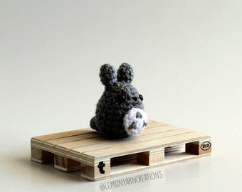 Mini Grey Totoro Inspired Crochet Amigurumi Keychain